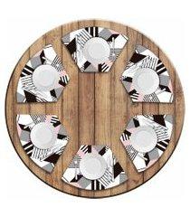 jogo americano love decor  para mesa redonda wevans geométric kit com 6 pçs