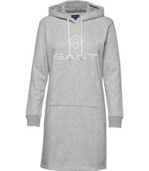 lock up hoodie dress knälång klänning grå gant