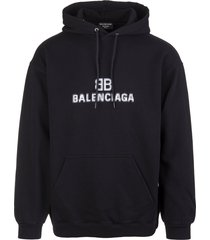 balenciaga man black medium fit bb pixel hoodie