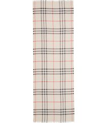 women's burberry giant check print wool & silk scarf, size one size - grey