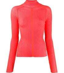acne studios ribbed polo neck sweater - red