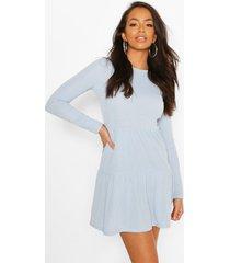 geribbelde gesmokte jurk met laagjes, blue