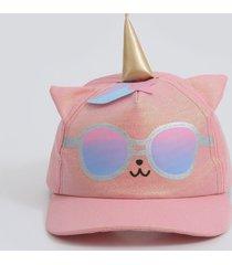 boné infantil estampa gato unicórnio brilho marisa
