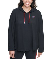 tommy hilfiger sport plus size waffle rib hoodie t-shirt