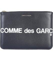 comme des garçons designer wallets, black leather signature huge holder/mini pouch