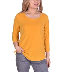 ny collection petite crepe toggle-detail top