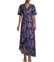 moody floral-print silk-blend gown