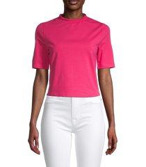 walter baker women's mockneck cotton-blend top - hot pink - size s