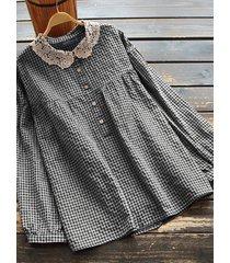 camicetta patchwork in pizzo a maniche lunghe scozzese per donna