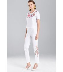 bottomweight cotton embroidered pants, women's, white, size 0, josie natori