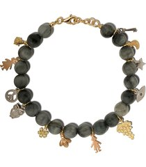 carolina bucci 18kt gold lucky charms dumortierite beaded bracelet -