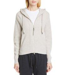 women's brunello cucinelli english rib cashmere hooded sweater