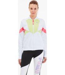 last lap tricot track jacket voor dames, wit/groen/aucun, maat xl   puma