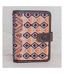leather accent cotton passport wallet, 'geometric mirage' (guatemala)