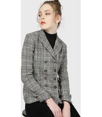 blazer wados escoces cruzado gris - calce regular