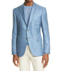 men's canali siena soft classic fit silk sport coat, size 46 us - blue