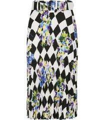 off-white check plisse skirt