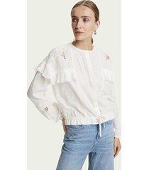 scotch & soda loose fit blouse met lange mouwen van 100% katoen