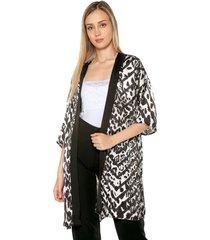kimono seda negro-gris charby ref. 137334