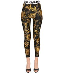 versace jeans couture leggings with bijoux baroque print