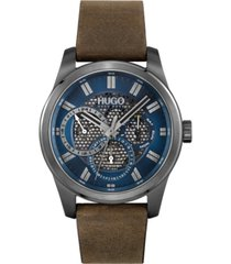hugo men's #skeleton brown leather strap watch 44mm