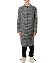 j.w. anderson black and white wool coat with pie-de-poule print