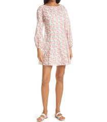 women's rebecca taylor ikat fleur long sleeve cotton a-line dress, size x-small - ivory