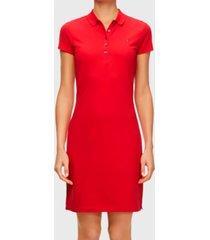 vestido tommy hilfiger mc rojo - calce regular