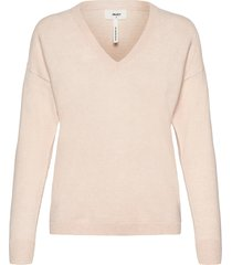 objthess l/s v-neck knit pullover noos stickad tröja rosa object