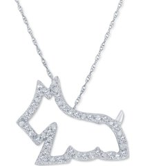 "diamond scotty dog 18"" pendant necklace (1/10 ct. t.w.) in 10k white gold"