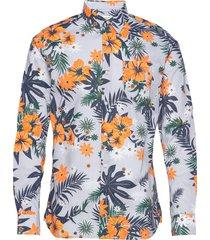elder ls flower shirt - gots/vegan skjorta casual multi/mönstrad knowledge cotton apparel