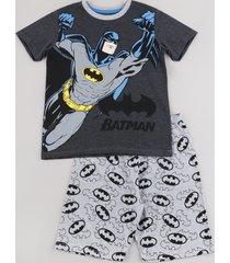 pijama infantil batman manga curta cinza mescla escuro