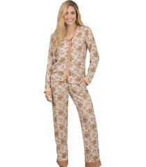 pijama dos piezas pantalon largo  adriana arango 7800- chocolate
