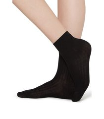 calzedonia short ribbed socks with cotton and cashmere woman black size 36-38