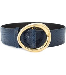 oscar de la renta small oval buckle belt - blue