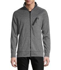 spyder men's logo zip-up jacket - burnt charcoal - size l