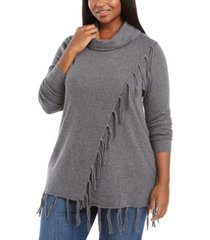 belldini plus size cowlneck fringe sweater