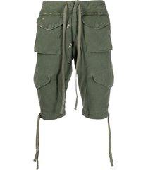 greg lauren drawstring multi-pocket shorts - green