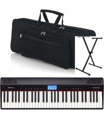 combo roland go-61pc piano estuche base adaptador