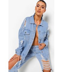 tall oversized versleten boyfriend spijkerjas, light blue