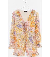 womens get growing floral ruffle romper - yellow