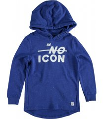 garcia blauwe long fit sweater hoodie
