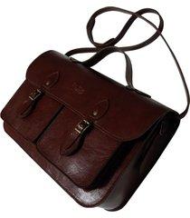 bolsa line store leather satchel pockets média couro marrom avermelhado