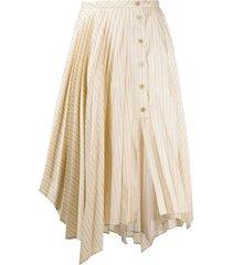 neutral striped midi skirt
