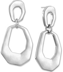alfani silver-tone sculptural double hoop drop earrings, created for macy's