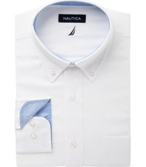 nautica men's classic/regular fit comfort stretch wrinkle free solid oxford dress shirt