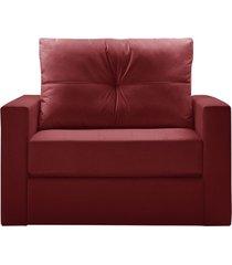 sofá cama ilha bela multi 118cm suede vermelho