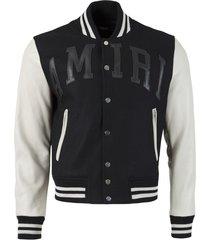letterman jacket, black