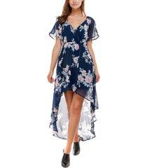 as u wish juniors' high-low chiffon dress