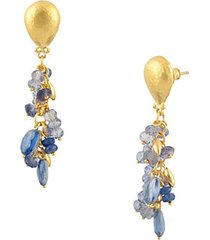 24k yellow gold & multi-color quartz drop earrings